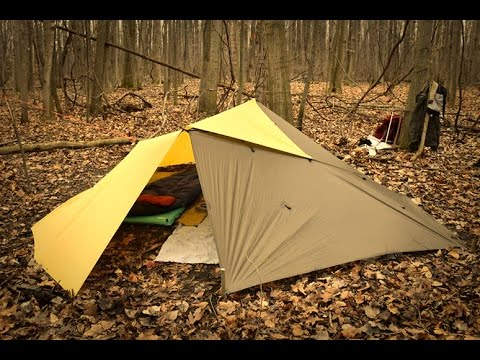Building an Overnight Bushcraft Camp; Double Adirondack Tarp Shelter, Raised Bench, Outdoor Cooking.