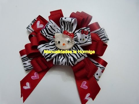 tutorial flores y moños en cinta para el cabello.  No. 364 hair bows tutorial
