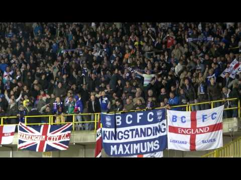 Celebrations by Birmingham fans after victory at Club Brugge.m2t
