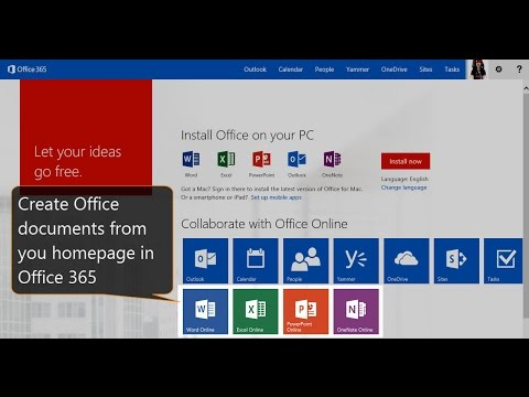 Office365 New HomePage with application tiles