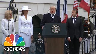 President Donald Trump Leads WH Arrival Ceremony For French President Macron | NBC News - NBCNEWS