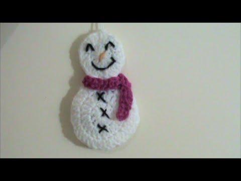 Πλεκτά χριστουγεννιάτικα στολίδια με βελονάκι (χιονάνθρωπος)