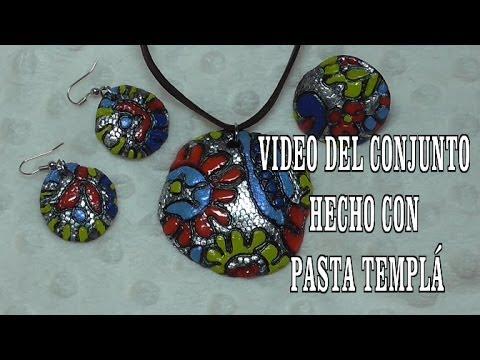 DIY CONJUNTO CERAMICO ESTILO  HANNAH MONTANA DE BISUTERIA EN PASTA TEMPLÁ
