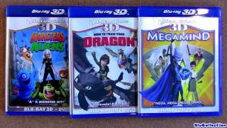 How to Train your dragon 3D blu ray, Monster vs. Aliens 3D blu-ray, Megamind 3D view on youtube.com tube online.
