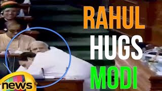 Rahul Gandhi Hugs Modi After Speech In Lok Sabha Monsoon Sessions | Mango News - MANGONEWS