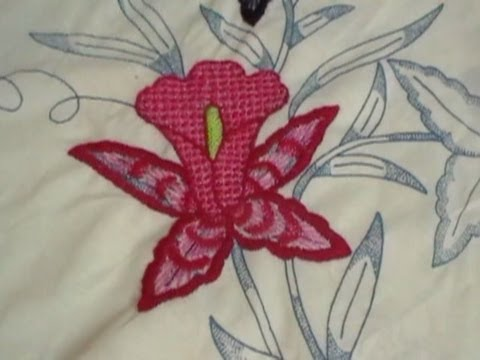 Bordado Fantasía Orquídea y Punto D´ Ojal