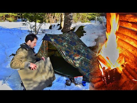 Solo Winter Camping with a Tent and some Bushcraft