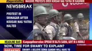 Protest in Srinagar over kousar Nag yatra halted - NEWSXLIVE