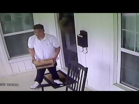 Thief Stealing Package from Front Porch in Dallas, Texas