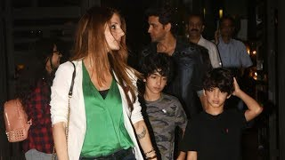 Hrithik Roshan spotted post dinner date with ex-wife Sussanne Khan and kids - TIMESOFINDIACHANNEL
