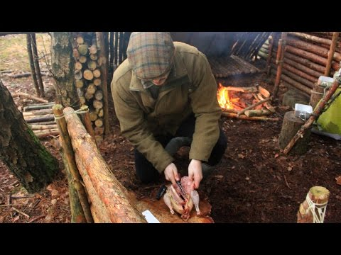 Cooking Pheasant at the Bushcraft Camp- Axe, Hunting Knife, Fire and Preparing Game in the Field