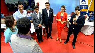 Watch Shah Rukh, Deepika and entire team of Happy New Year in newsroom - ABPNEWSTV