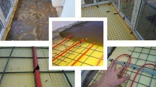 Тёплый пол на пенопласте и армирующей сетке на французском балконе