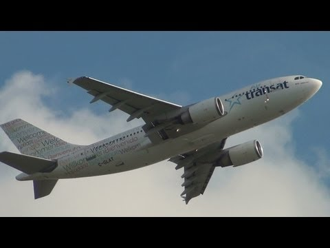 Air Transat Airbus A310 (welcome livery) [C-GLAT] TAKE-OFF at ROME FIUMICINO Airport rwy 25 / HD