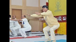 International Yoga Day 2018: Chandrababu Naidu displays his Yoga prowess - TIMESOFINDIACHANNEL