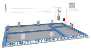 Схема отопления   2-х этажный дом   электрокотел   радиаторы