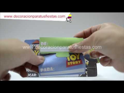 Tarjetas de invitación para decoración infantil de cumpleaños de Toy Story