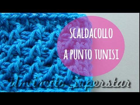 Scaldacollo uncinetto punto tunisi traforato | Tunisian lace stitch crochet cowl tutorial