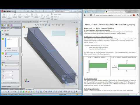 Solidworks Simulation: Simply supported beam bending. Part 2/2