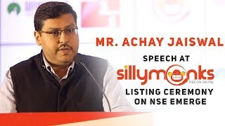Mr. Achay Jaiswal at Silly Monks Listing Ceremony | #SillyMonksIPO - SILLYMONKSENT