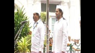#जश्नएआजादी : Rahul Gandhi unfurls Indian tricolour at Congress headquarters - ABPNEWSTV