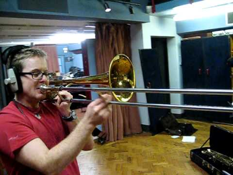 Smerins Brass player Toby Riches blasting maximum Trombone at Christchurch Studio Bristol.