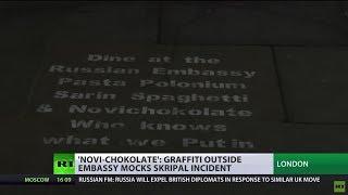 Pasta Polonium & Novichokolate: Graffiti mocks Skripal incident with 'Russian embassy menu' - RUSSIATODAY