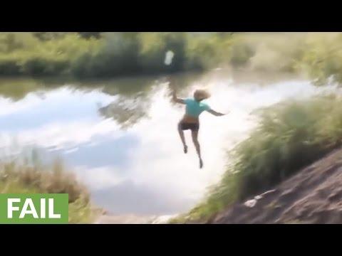 Girl wrecks hard on bike jump