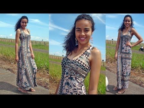 Vídeo aula molde de vestido simples longo Alana Santos Blogger