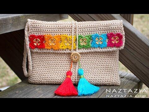DIY Tutorial - Crochet Bohemian Clutch - Boho Evening Hand Bag Bolsa Collab - Hectanooga1