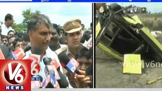 T Minister Harish Rao on school bus accident near Masaipet railway crossing gate at Medak - V6NEWSTELUGU