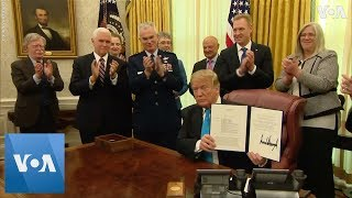 President Donald Trump Signs Space Force Directive - VOAVIDEO