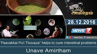 Unave Amirtham 27-12-2016 'Paavakkai Puli Thuvayal' helps to cure intenstinal problems – NEWS 7 TAMIL Show