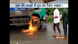 Maharashtra dairy farmers' protest: Milk tanker set ablaze in Malegaon - INDIATV