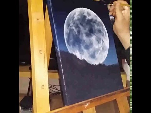 Full moon painting acryl, oil, tutorial, how to paint