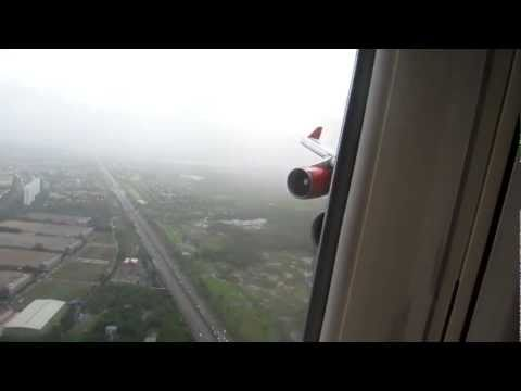 Air India B747-400 Landing at Mumbai, India - Window View