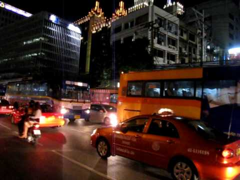 Bangkok bus journey at night