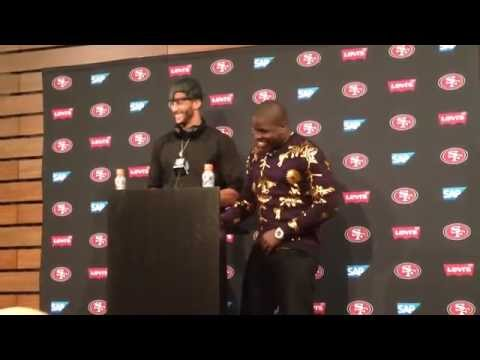 Colin Kaepernick and Frank Gore postgame after beating Eagles