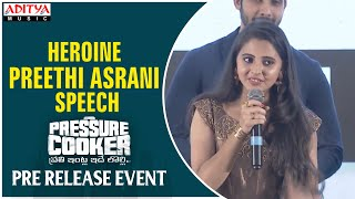 Heroine Preethi Asrani Speech @ Pressure Cooker Movie Pre Release Event - ADITYAMUSIC