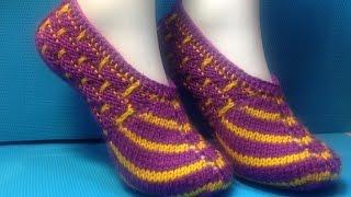 Вязание спицами домашние тапочки #70