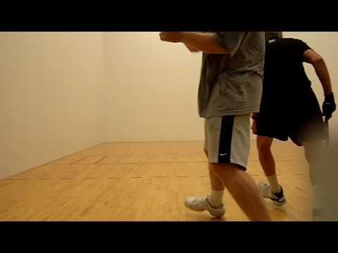 Kevin gives racquetball lesson!