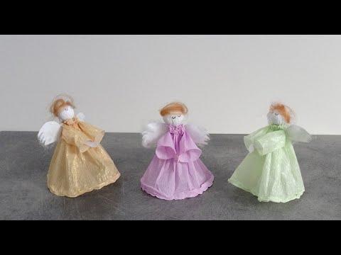 Aniołki z bibuły - ozdoby świąteczne