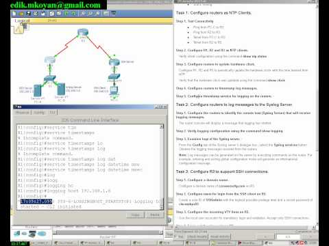 A Packet Tracer activity, Configure Cisco Routers for Syslog, NTP, and SSH