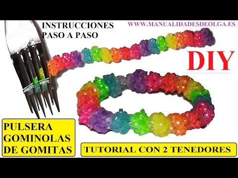 COMO HACER PULSERA GOMINOLAS DE GOMITAS CON 2 TENEDORES  (GUMDROP II BRACELET)