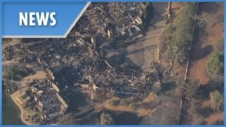 Aerial footage shows homes destroyed from wildfires in Thousand Oaks California - THESUNNEWSPAPER