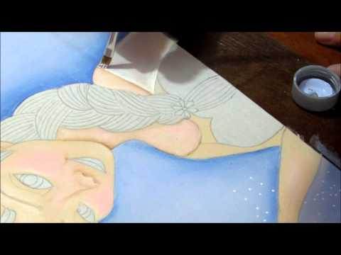 Pintura em tecido - Elsa do Frozen - painting