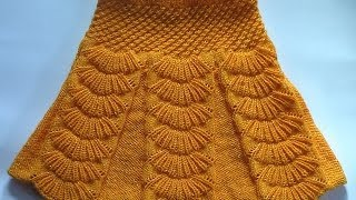 Юбка с бантовыми складками. Вязание на спицах.  Skirt with pleats spokes
