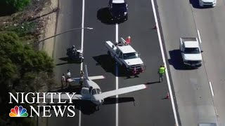 Small Plane Lands On California Highway | NBC Nightly News - NBCNEWS
