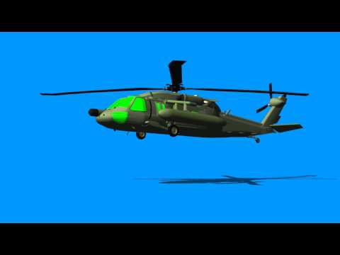 helicopter animation with green screen windows - blue / green screen effect