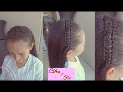Trenza en una Linea-Trenza Pasacinta - Line Braid-Passes Through Ribbon Braid | Chikas Chic